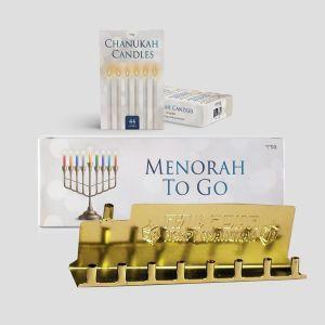 Standard Mivtzoim MENORAH to go (Menorah, Candles, and Box)