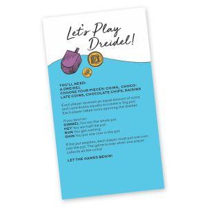 Chanukah Dreidel Game Instructions Card