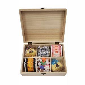 Filled Wooden Happy Purim Tea Box -Elegant Option 1