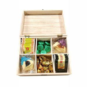 Filled Wooden Happy Purim Tea Box -Elegant Option 2