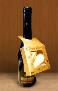 FILLED Purim Square Gold Wine Hanger Box 3.5x3.5 Shaloch Manos