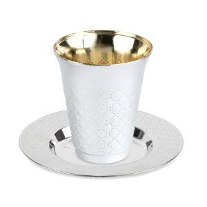 Silver-Like Plastic Kiddush Cup - Diamond Design & Plate