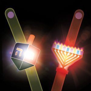 Assorted  LED Light Up & Flashing Chanukah Menorah & Dreidel Wristbands