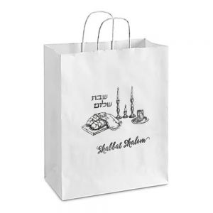 White Shabbat Shalom Bags with Silver Foil - few sizes available
