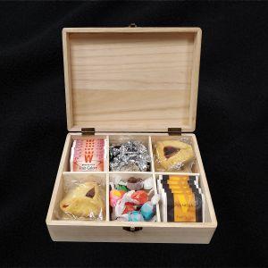 Filled Wooden Happy Purim Tea Box - Simple Option