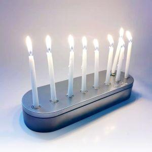 New Tin Menorah Container Set Inc Candles