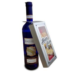FILLED Purim Vertical Silver Wine Hanger Box 3.5x7 Shaloch Manos