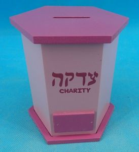 Pink Wooden Tzedakah Box